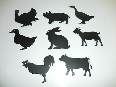 Metal Art Animal Silhouette Décor Rooster Duck Turkey Cow Goat Pig Bunny
