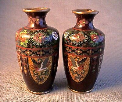 Quality Miniature Pair of Miniature Japanese Meiji period Cloisonne Vases