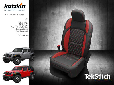 Swell 2018 19 Jeep Wrangler Jl Katzkin Leather Seat Covers Blk Red Gmtry Best Dining Table And Chair Ideas Images Gmtryco