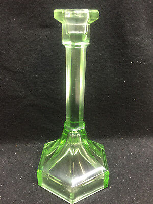 Depression Green glass Fairy lamp candle holder candlestick art stick clear TALL