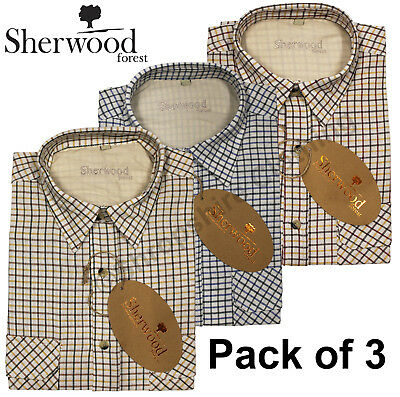 Mens Sherwood Forest Tattersall Country Check Long Sleeve Shirts Pack Of 3