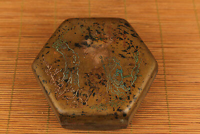 unique chinese old copper hand carved Peach Blossom Spring ink box