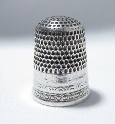 ANTIQUE LATE 1800s STERLING SILVER SZ 9 THIMBLE (HOLES)