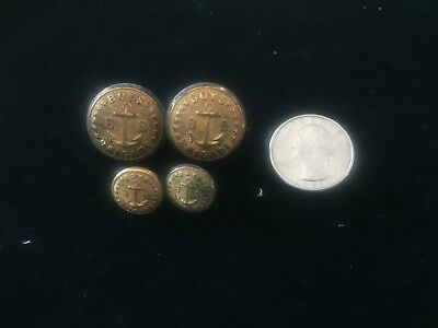 Lot Of 4 - Early Brass Boys Brigade Brass Buttons - Marked - Boston