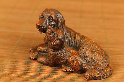 chinese old boxwood hand carved dog statue figure collectable ornament