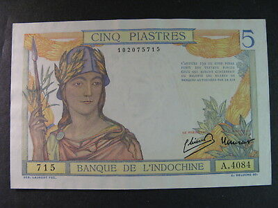 FRENCH INDO CHINA (VIET NAM) 5 PIASTRES BANKNOTE, P-55c, CHOICE AU, CHEAP !