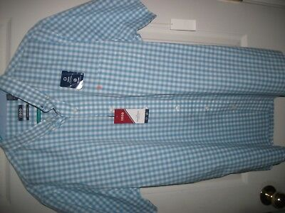 Izod Mens XL Short Sleeve 100% Cotton Blue Plaid Shirt NWT