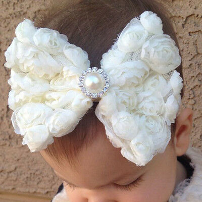 1pc Cute Toddler Baby Girl Headband Lace Bow Flower Infant Hair Band Accessories