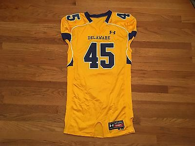 New Under Armour Men s XL Delaware YouDee Football Game Jersey Yellow Blue 464365167