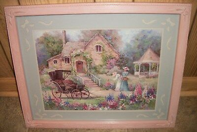 Home Interiors Homco Victorian Women House Buggy & Gazebo Picture Barbara Mock