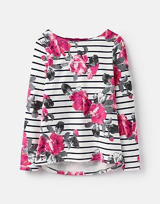 Joules Womens 124821 Printed Jersey Top Shirt in FLORAL STRIPE