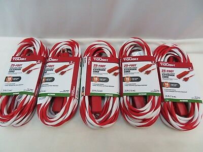 Lot Of 5 - 25' Candy Cane Striped Extension Cords 16 Gauage Light Duty Christmas