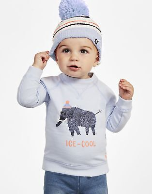 Joules Baby Artie Brushback Sweatshirt in Blue Ice Cool Mammoth