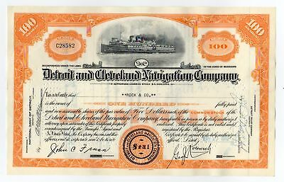 Detroit and Cleveland Navigation Company Stock Certificate