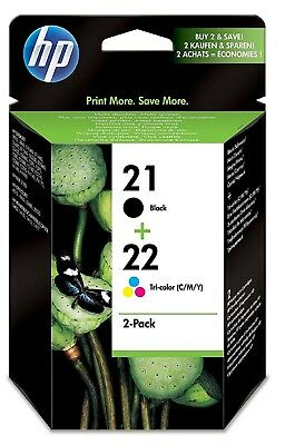 Genuine Original Hp 21 and 22 Black and Tri-colour Ink Cartridges Dated 2017