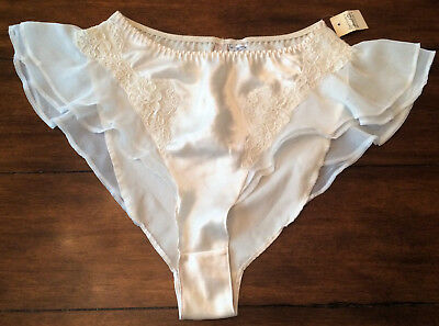 Vintage Today Tonight Off White Satin and Lace Knickers Tap Panties NOS w/Tag