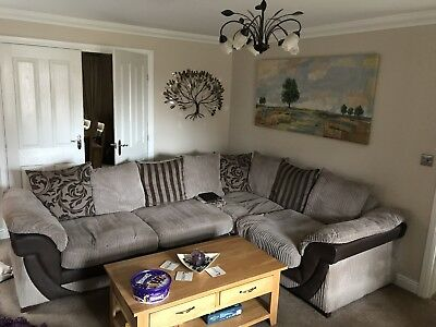 SOFA DFS NUTMEG LH Facing Corner + snuggler and cushions - with protection