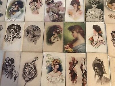 Lot of  30 Pretty Ladies Hats Flowers some ARTIST SIGNED  Postcards-a626
