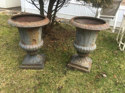 Htf Large Antique Pair Of Cast Iron Garden Urns