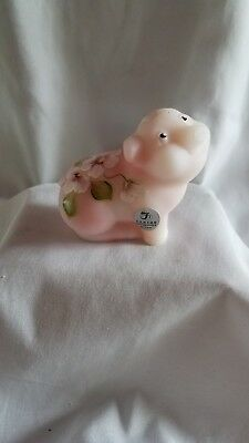 Fenton art glass pink painted and signed pig with sticker