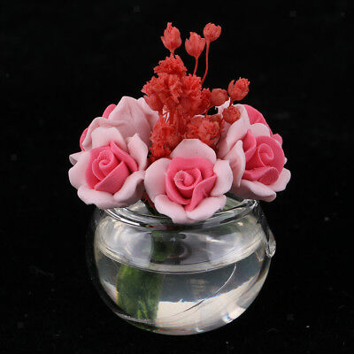 Plastic Vase with Pink Rose Model for 1/12 Dollhouse Miniature Decoration