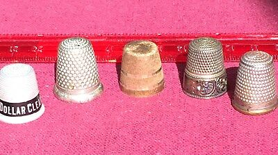 5 Vintage Thimbles - Assorted metals and condtions