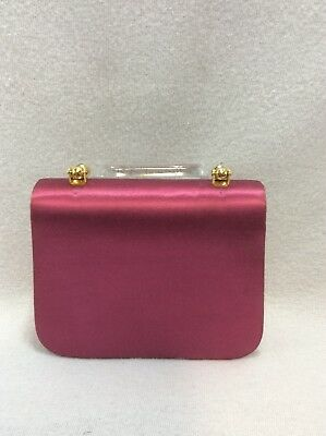 Coloriffics Dyeable Wedding Formal Magenta Purse Snap Gold Chain