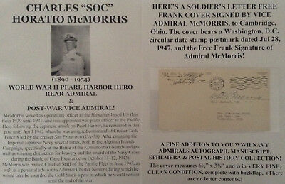 Wwii Pearl Harbor Attack Hawaii Hero Vice Admiral Signed Free Frank Letter Cover