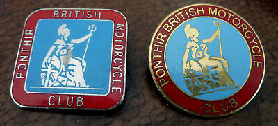 Moto Ancienne Badge + Broche Emailles Ponthir British Motorcycle Club 1990