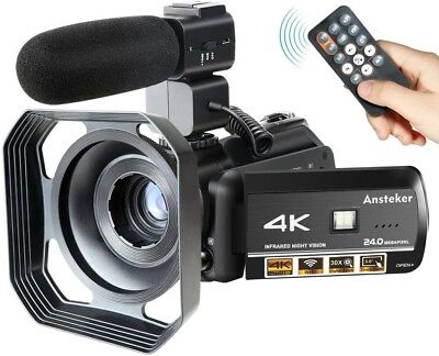 BRAND NEW boxed Ansteker 4K Camcorder with Mic and Lens Hood. GREAT PRICE