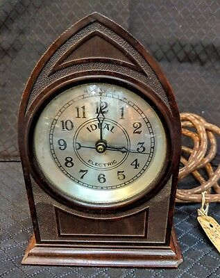 Vintage Ideal Electric desk clock, brown, working condition