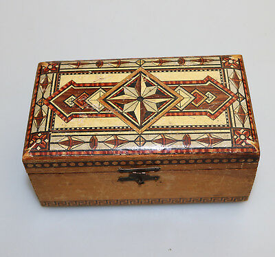 ANTIQUE BOXES AN unusual h/painted Victorian Box C 19thC