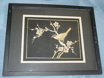 Vintage Straw Art Asian Bamboo on Silk Cherry Blossoms Bird Framed w Glass