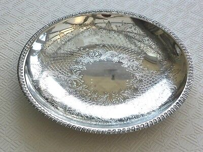 Large Round Vintage Silver Plated Etched Floral Patterned Dish   1400162/166