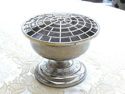Vintage Silver Plated Rose Bowl With Floral Patterned Base & Grille  1350088/090