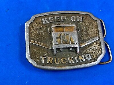 1975 Keep on Trucking Belt Buckle Big Rig Semi Drivers Bergamot Americas Trucks!