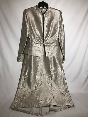 9985d233080 Kay Unger Skirt Suit Sz 8 Mother Bride Formal Maxi Champagne Brocade Silk  2pc