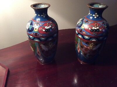 Old pair of small CLOISONNE VASES With Ruyi Cloud Decoration and Mythical Beasts