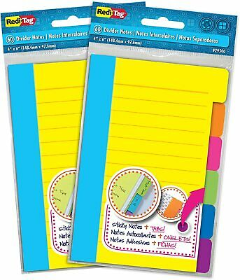 Redi-Tag Divider Sticky Notes 60 Ruled Indexing Tag Tabs Assorted Neon Colors