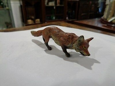 Brgman Austrian Signed 1890s cold painted bronze fox