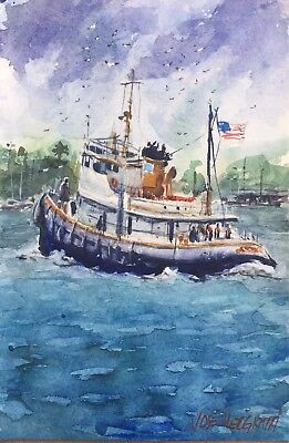 "Original Watercolor Painting Art  Boat   6"" x 9"" NOT A PRINT"
