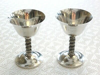 Pair Of Vintage Silver Plated Grape Vine Stem Champagne Goblets   1400248/252