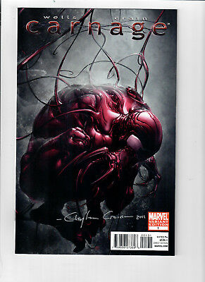 CARNAGE #1 - Grade NM - 1 in 10 Clayton Crain variant cover SIGNED!