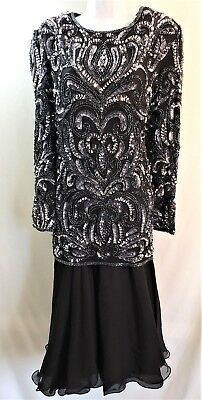 Vintage CARINA 100% Silk Black Silver Sequined Beaded Cocktail Dress Size XL
