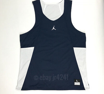 999bcfa4be2ab8 Nike Jordan Men s L Team Flight Reversible Navy White Basketball Jersey  Tank Top
