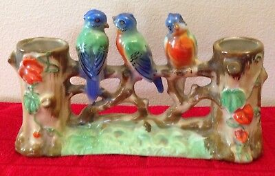 Vintage 3 Robins Sitting On A Fence Branch Dual Vase Made In Japan Figurine