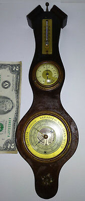 Antique rare small wall wooden barometer thermometer hygrometer HUGER