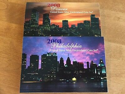 2008 P & D United States Mint Uncirculated Coin Set - 28 Coins Total  With Coa