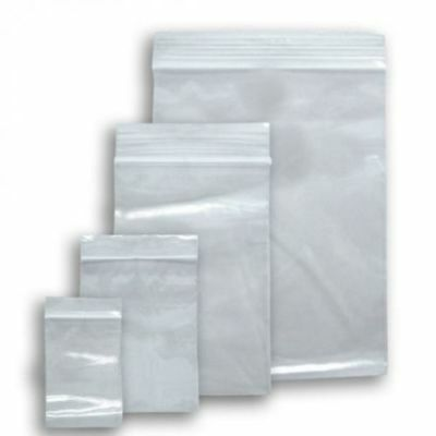 Pack Of 100 Clear Grip Seal Bags Resealable Strong Plastic Heavy Duty - All Size