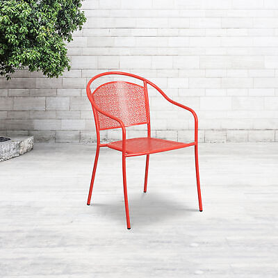 Commercial Grade Colorful Metal Patio Arm Chair with Round Back